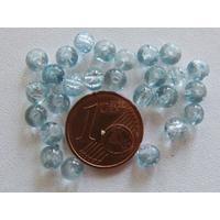 Perles verre Craquelé ronds 4mm BLEU CLAIR par 100 pcs