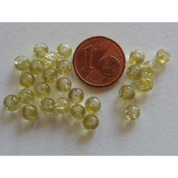 Perles verre Craquelé ronds 4mm JAUNE PALE par 100 pcs