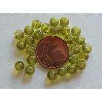 Perles verre Craquelé ronds 4mm VERT OLIVE par 100 pcs
