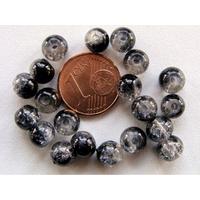 Perles verre Craquelé ronds 6mm NOIR et TRANSPARENT par 60 pcs