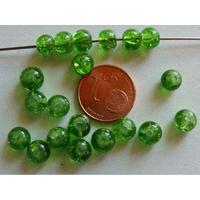 Perles verre Craquelé ronds 6mm VERT par 60 pcs