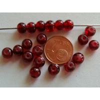 Perles verre Craquelé ronds 6mm ROUGE par 60 pcs