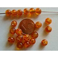 Perles verre Craquelé ronds 6mm ORANGE BRUN par 60 pcs