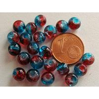 Perles verre Craquelé ronds 6mm ROUGE BLEU par 60 pcs