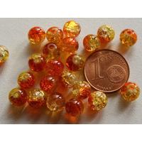 Perles verre Craquelé ronds 6mm JAUNE ROUGE par 60 pcs