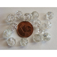 Perles verre Craquelé ronds 8mm TRANSPARENT par 40 pcs