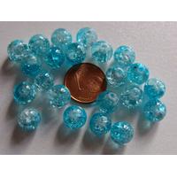 Perles verre Craquelé ronds 8mm BLEU et TRANSPARENT par 40 pcs