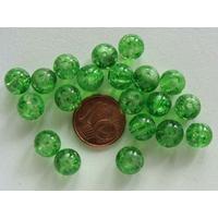 Perles verre Craquelé ronds 8mm VERT par 40 pcs