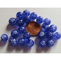 Perles verre Craquelé ronds 8mm BLEU FONCE par 40 pcs