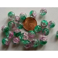 Perles verre Craquelé ronds 8mm ROSE et VERT par 40 pcs