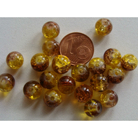 Perles verre Craquelé ronds 8mm Bicolore MARRON MIEL par 40 pcs