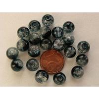 Perles verre Craquelé ronds 8mm NOIR VERT et TRANSPARENT par 40 pcs