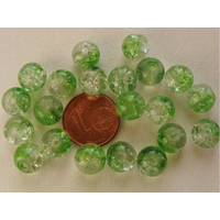 Perles verre Craquelé ronds 8mm VERT et TRANSPARENT par 40 pcs