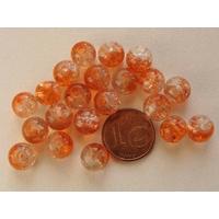 Perles verre Craquelé ronds 8mm ORANGE et TRANSPARENT par 40 pcs