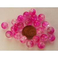 Perles verre Craquelé ronds 8mm Fuchsia et TRANSPARENT par 40 pcs