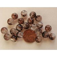 Perles verre Craquelé ronds 8mm Marron Foncé et TRANSPARENT par 40 pcs