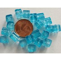 Perles verre Craquelé Cubes 6mm BLEU par 20 pcs