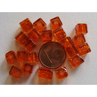 Perles verre Craquelé Cubes 6mm ORANGE BRUN par 20 pcs