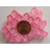 Perles verre Craquelé Cubes 6mm ROSE par 20 pcs