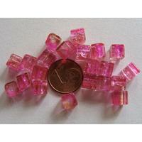 Perles verre Craquelé Cubes 6mm ROSE BEIGE par 20 pcs