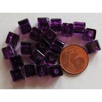 Perles verre Craquelé Cubes 6mm VIOLET FONCE par 20 pcs