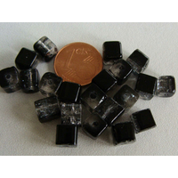 Perles verre Craquelé Cubes 6mm NOIR TRANSPARENT par 20 pcs