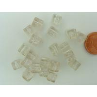 Perles verre Craquelé Cubes 6mm TRANSPARENT par 20 pcs