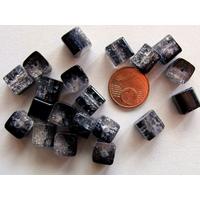 Perles verre Craquelé Cubes 8mm NOIR et TRANSPARENT par 20 pcs