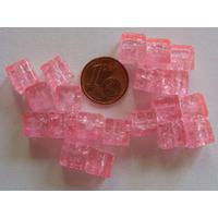 Perles verre Craquelé Cubes 8mm ROSE par 20 pcs