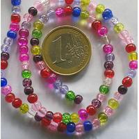 Perles verre Craquelé rondes 4mm MIX couleurs par 100 pcs