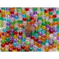 Perles verre Craquelé rondes 8mm MIX couleurs par 48 pcs