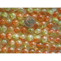 Perles verre Craquelé ronds 10mm JAUNE ORANGE par 20 pcs