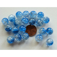 Perles verre Craquelé ronds 10mm BLEU FONCE et TRANSPARENT par 20 pcs