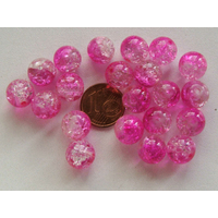 Perles verre Craquelé ronds 10mm FUCHSIA et TRANSPARENT par 20 pcs