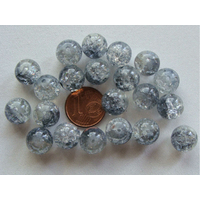 Perles verre Craquelé ronds 10mm GRIS BLEU et TRANSPARENT par 20 pcs