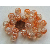 Perles verre Craquelé ronds 10mm ORANGE et TRANSPARENT par 20 pcs