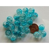 Perles verre Craquelé ronds 10mm BLEU et TRANSPARENT par 20 pcs