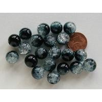 Perles verre Craquelé ronds 10mm NOIR-Vert et TRANSPARENT par 20 pcs