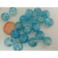 Perles verre Craquelé ronds 10mm BLEU CLAIR par 20 pcs