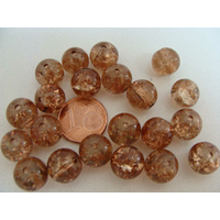 Perles verre Craquelé ronds 10mm MARRON par 20 pcs