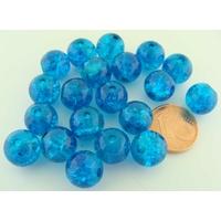 Perles verre Craquelé ronds 10mm BLEU VIF par 20 pcs