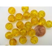 Perles verre Craquelé ronds 10mm JAUNE MIEL  par 20 pcs