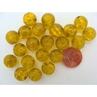 Perles verre Craquelé ronds 10mm JAUNE VERT par 20 pcs