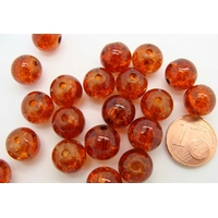 Perles verre Craquelé ronds 10mm ORANGE FONCE par 20 pcs