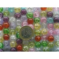 Perles verre Craquelé rondes 10mm MIX couleurs par 42 pcs