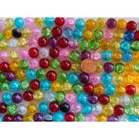Perles verre Craquelé rondes 12mm MIX couleurs par 32 pcs