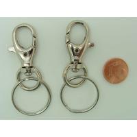 Fermoirs mousqueton 40mm avec anneau porte-clef 24mm ARGENT VIEILLI par 2 pcs