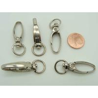 Fermoirs mousqueton porte-clés 37mm ARGENTE VIEILLI par 5 pc
