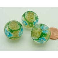 Perle verre Lampwork rondes 20mm Vert blanc motifs Fleurs bleues par 1 pc