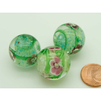Perle verre Lampwork rondes 20mm Vert blanc motifs Fleurs violettes par 1 pc